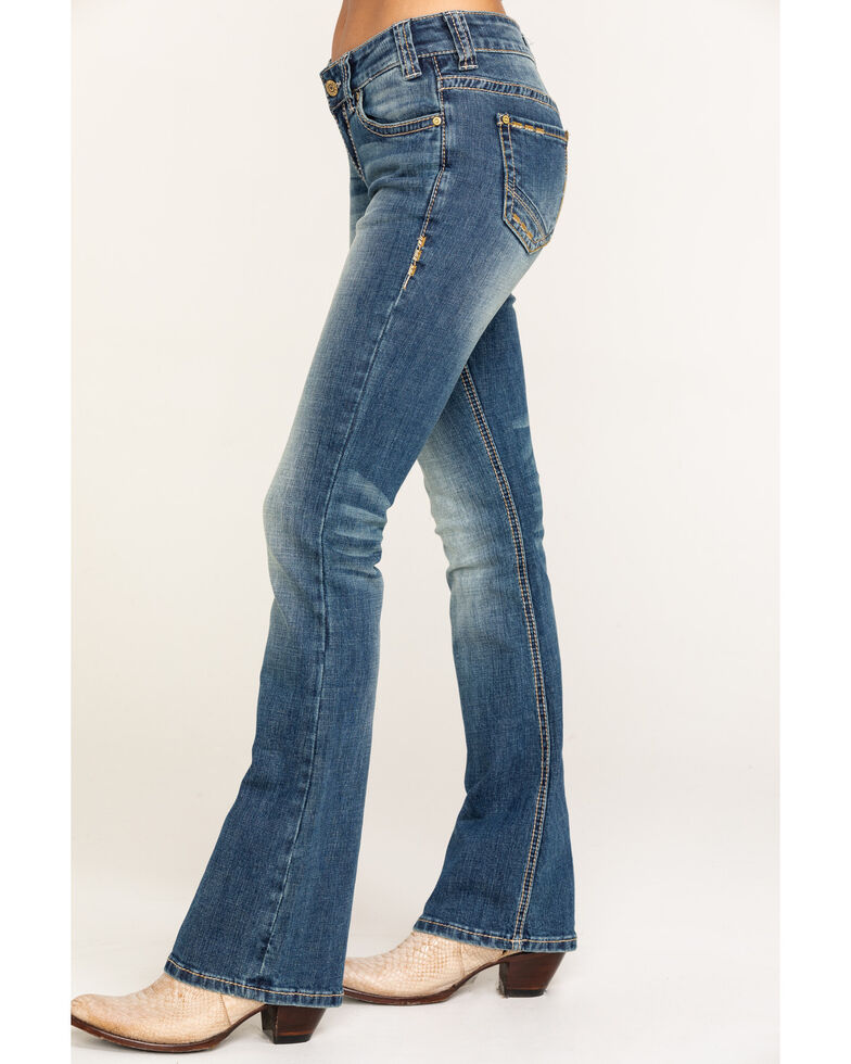 Rock & Roll Cowgirl Women's Medium Wash Rival Low Rise Bootcut Jeans, Blue, hi-res