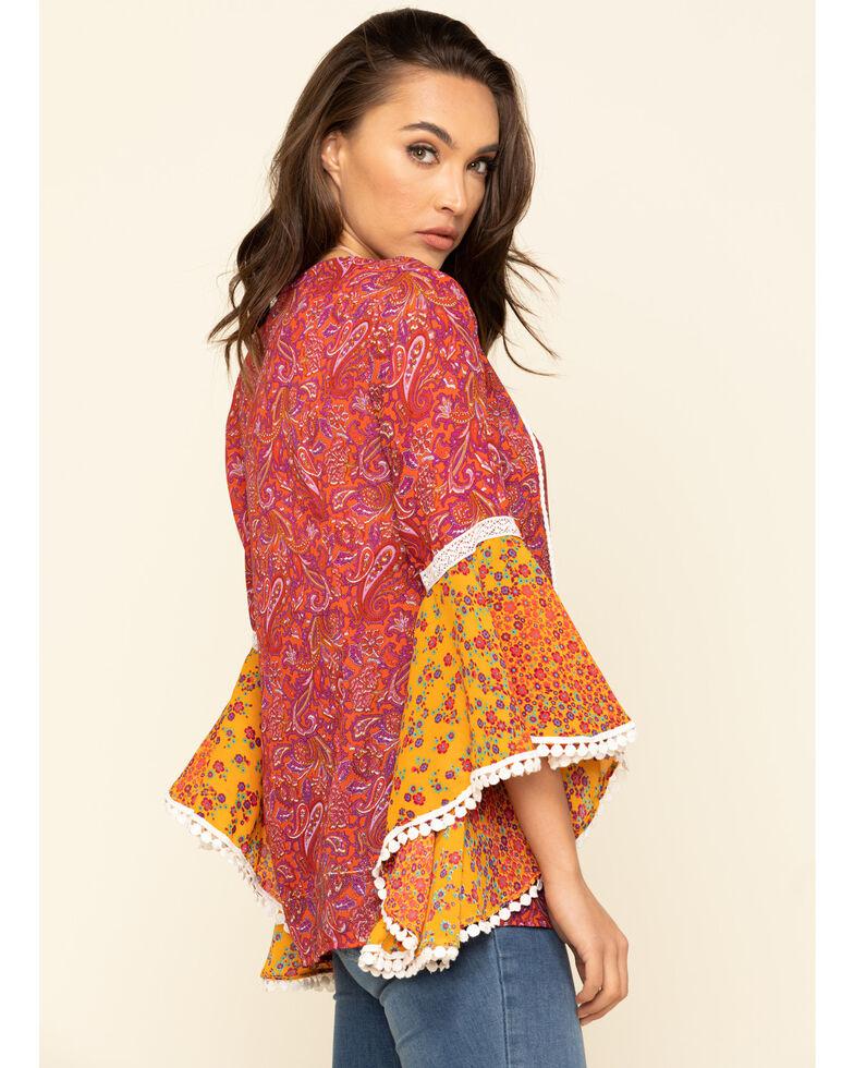 Red Label Women's Fuchsia Print Bell Sleeve Top , Dark Pink, hi-res