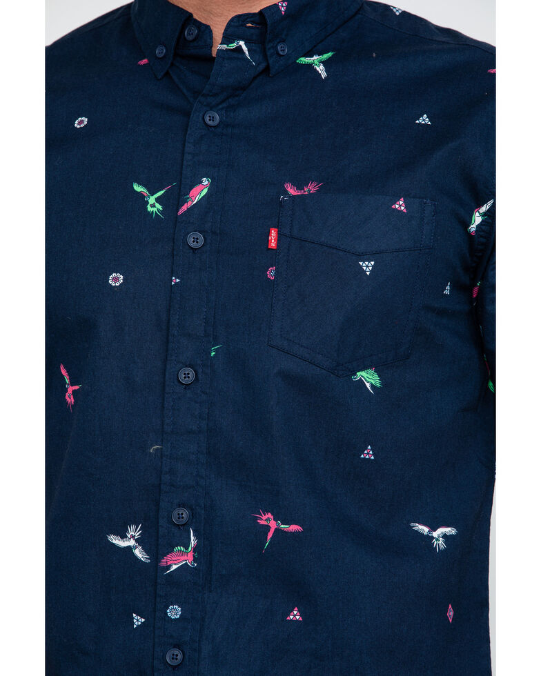 Levis Men's Rayberg Parrot Print Short Sleeve Western Shirt , Blue, hi-res