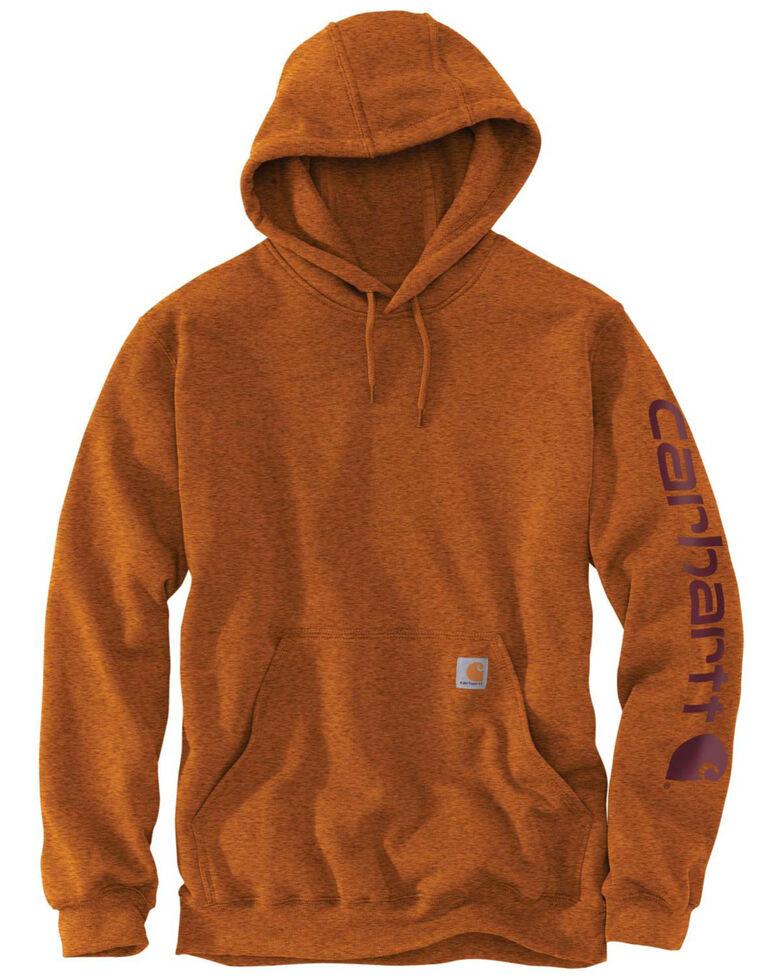 Carhartt Men's Mid Weight Hooded Logo Work Sweatshirt - Big , Bark, hi-res