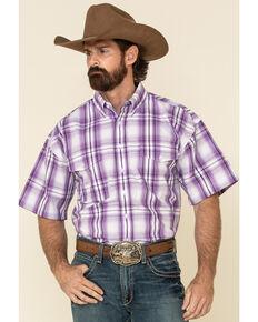 Panhandle Select Men's Purple Yarn Dye Plaid Short Sleeve Western Shirt , Purple, hi-res