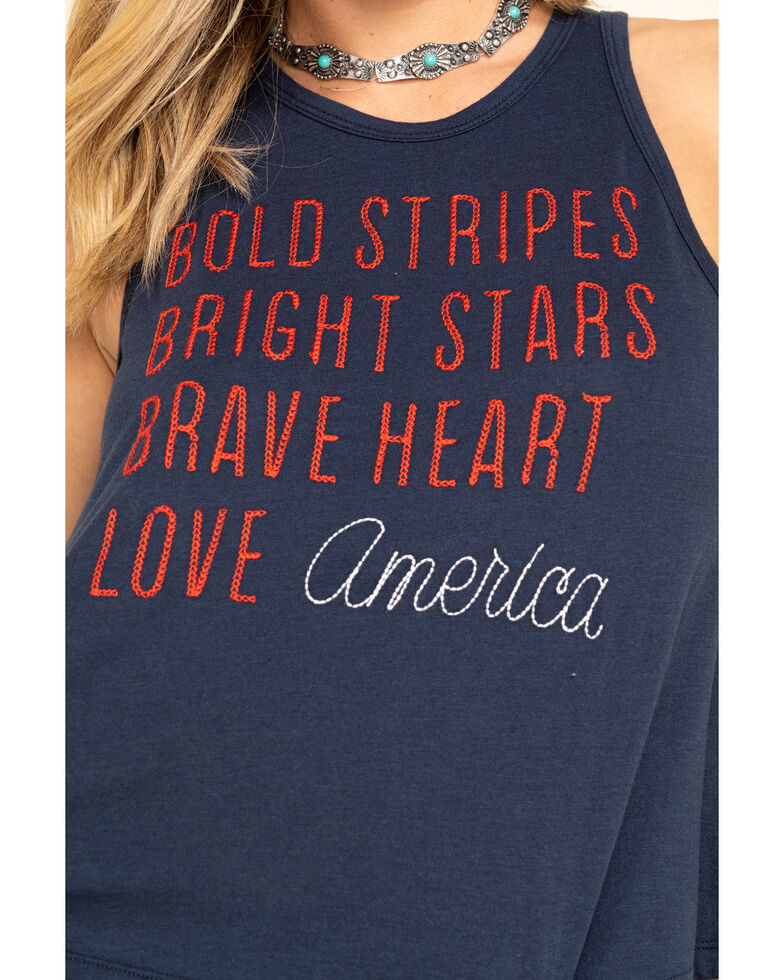 Others Follow Women's Navy Love American Tank Top, Navy, hi-res