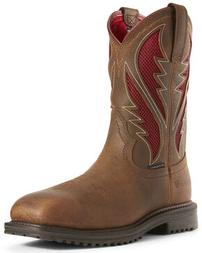 Ariat Men's Rigtek VentTEK Rye Western Work Boots - Composite Toe, Brown, hi-res
