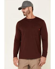 Hawx Men's Dark Red Original Pocket Long Sleeve Work T-Shirt , Dark Red, hi-res