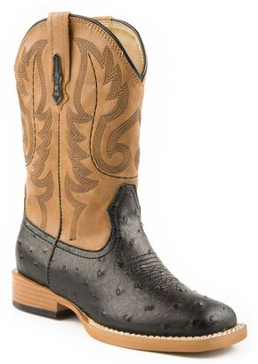 Roper Youth Boys' Ostrich Print Cowboy Boots - Square Toe, Black, hi-res