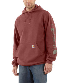 Carhartt Men's Iron Ore Midweight Signature Logo Hooded Work Sweatshirt - Tall, Heather Grey, hi-res