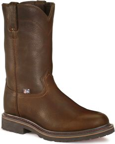 Justin Men's Warren Electrical Hazard Pull-On Work Boots - Steel Toe, Brown, hi-res