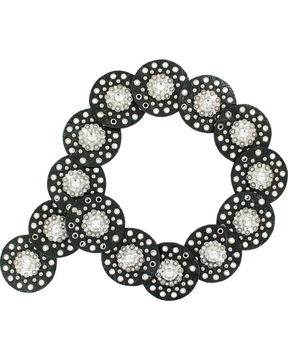 Nocona Wide Concho Disk Waist Belt, Black, hi-res