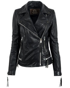 STS Ranchwear Women's Black Dreamer Moto Leather Jacket, Black, hi-res
