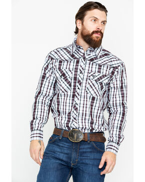 Cowboy Hardware Men's Chili Triple Plaid Long Sleeve Western Shirt , Chilli, hi-res