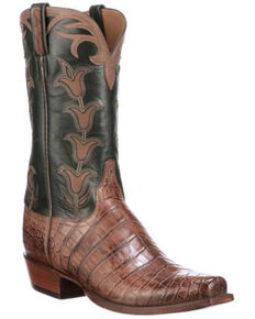 Lucchese Men's Green Tulip Western Boots - Square Toe, Green, hi-res