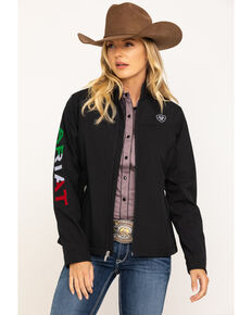 Ariat Women's Classic Team Mexico Flag Softshell Jacket, Black, hi-res