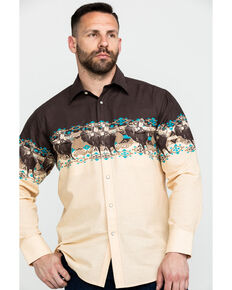 Panhandle Men's Aztec Scenic Border Print Long Sleeve Western Shirt , Brown, hi-res