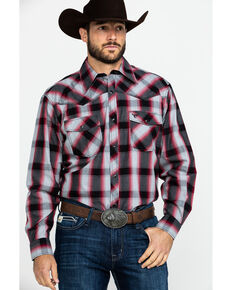 Cowboy Hardware Men's Chili Hombre Large Plaid Long Sleeve Western Shirt , Black, hi-res
