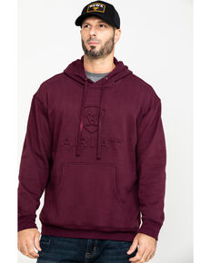 Ariat Men's Malbec Heather Fleece Branded Hooded Sweatshirt , Wine, hi-res