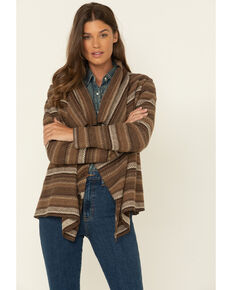 Cripple Creek Women's Navajo Open Front Cardigan , Tan, hi-res