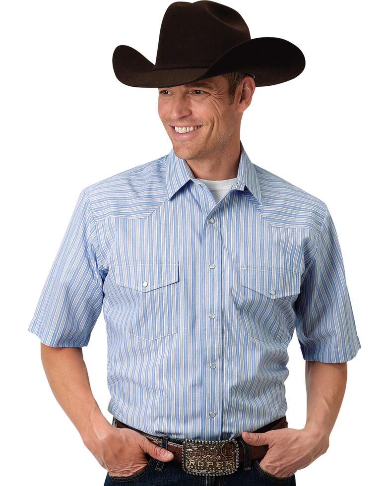 Roper Men's Blue Striped Short Sleeve Western Shirt , Blue, hi-res