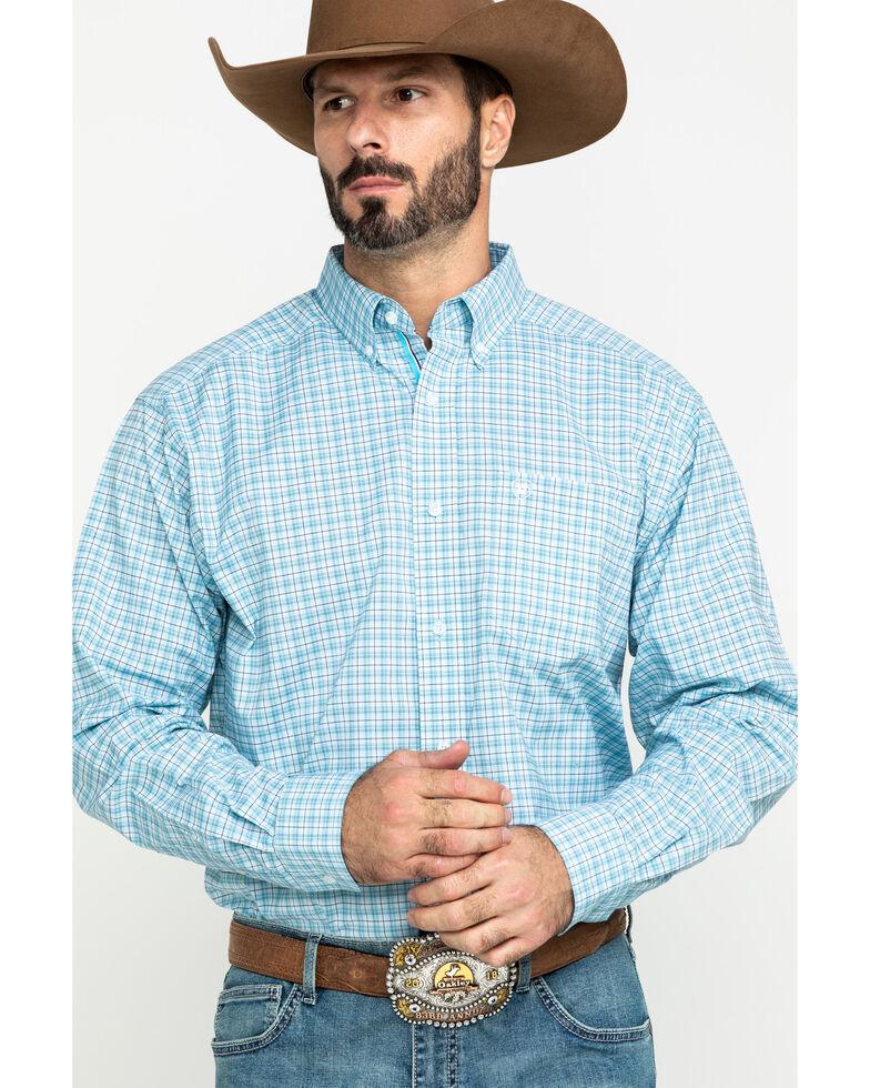 Ariat Men's Lee Stretch Plaid Short Sleeve Western Shirt , Blue, hi-res