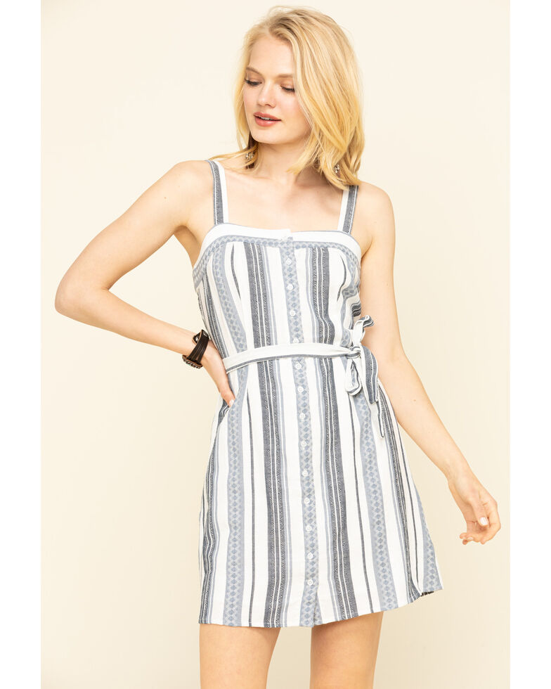 Others Follow Women's Stripe Button Front Clark Dress, Blue, hi-res
