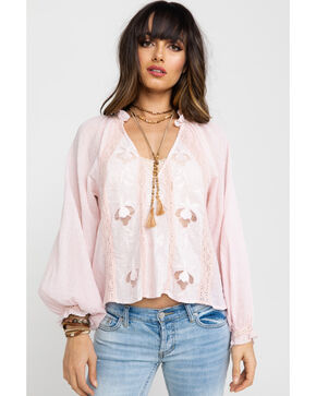 Free People Women's Sivan Embroidered Blouse, Pink, hi-res