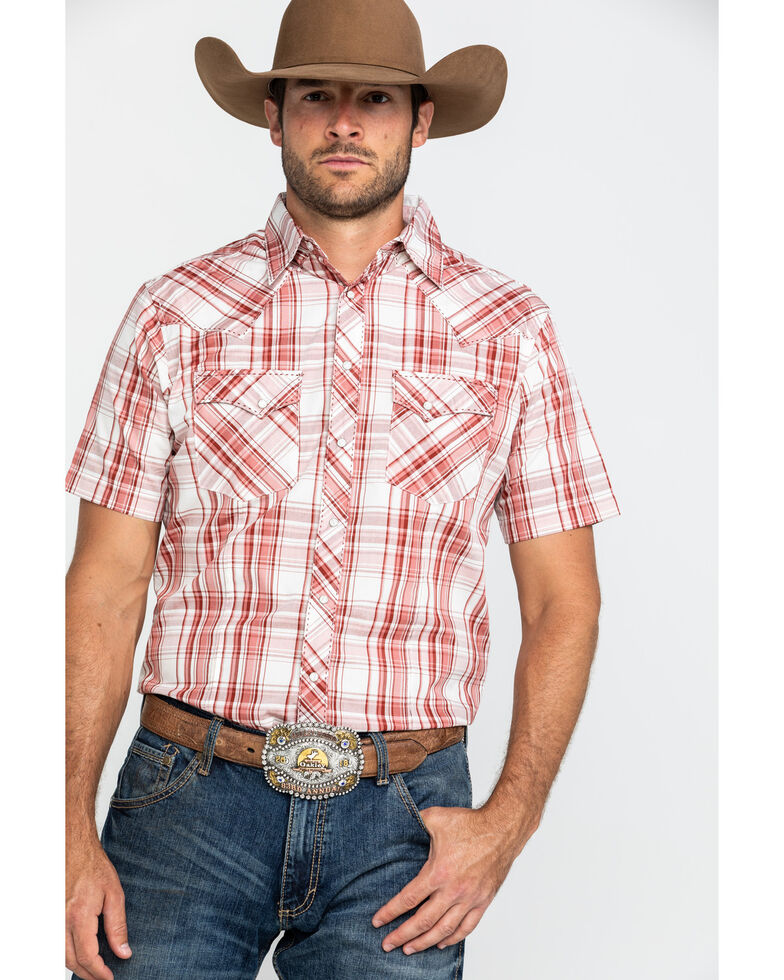 Wrangler Men's Red Small Plaid Fashion Snap Short Sleeve Western Shirt , Red, hi-res