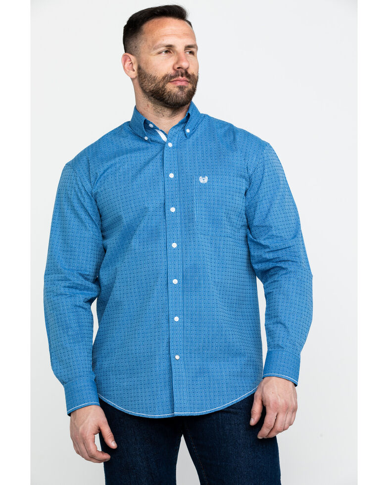 Rough Stock by Panhandle Men's Asti Poplin Print Long Sleeve Western Shirt , Blue, hi-res
