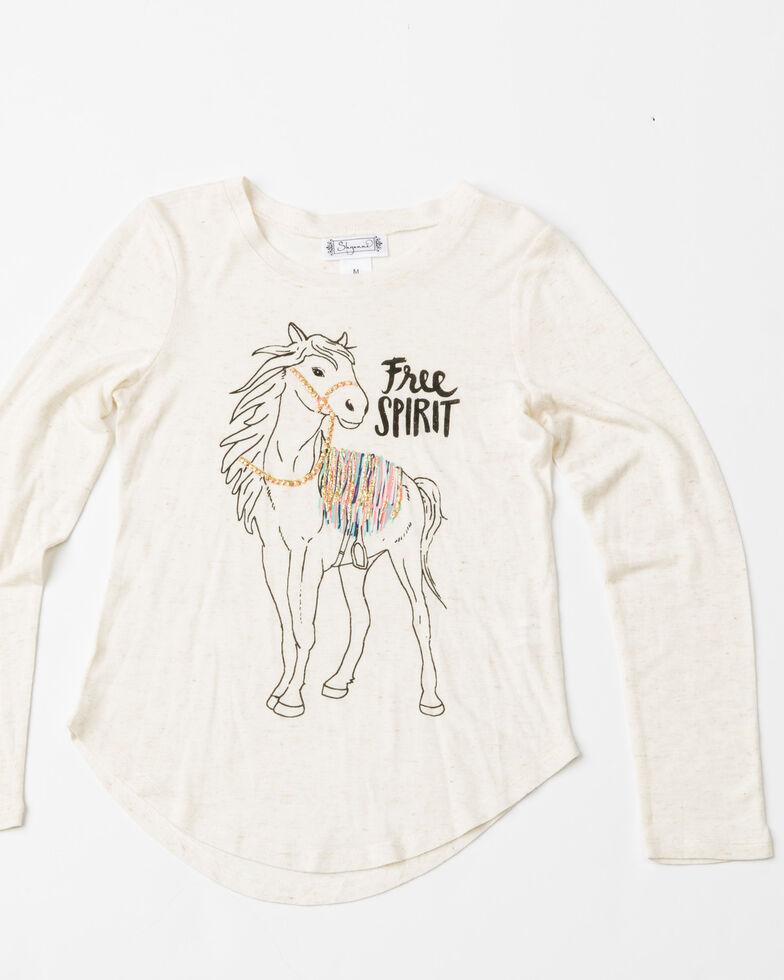 Shyanne Girls' Free Spirit Horse Print Long Sleeve Shirt  , Oatmeal, hi-res