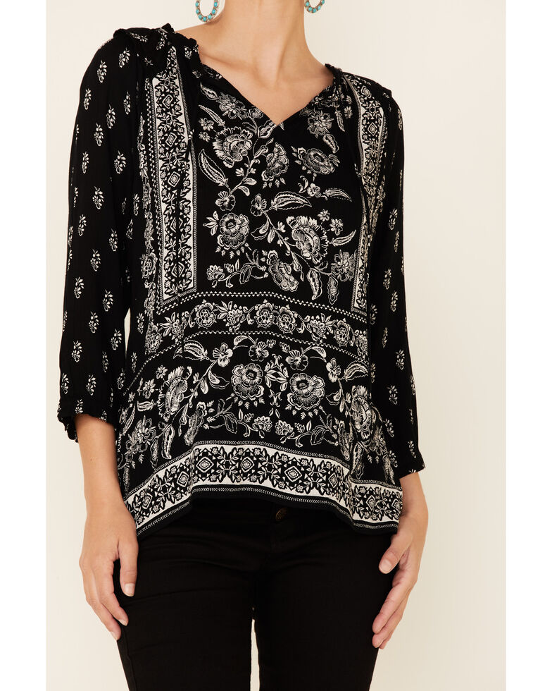 Bila Women's Delaney Two-Tone Print 3/4 Sleeve Peasant Top , Black, hi-res