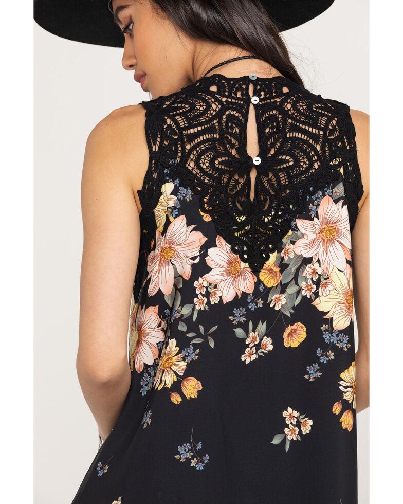 Miss Me Women's Black Floral Shift Dress, Black, hi-res