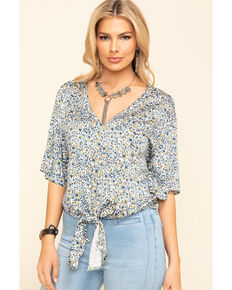 Idyllwind Women's Sunny Days Tie Front Top, Blue, hi-res