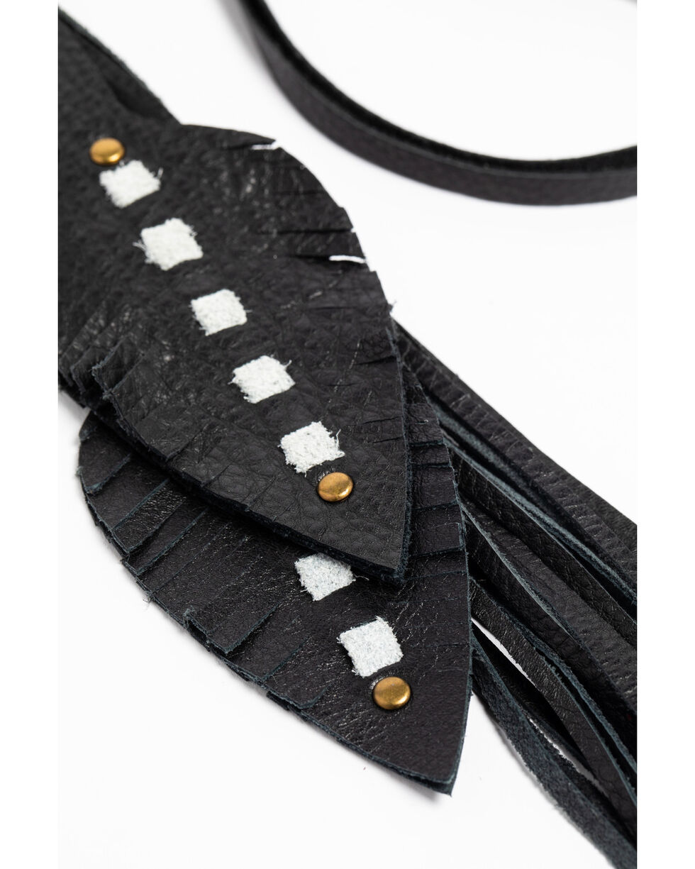 Jewelry Junkie Women's Leather Feather Necklace , Black, hi-res