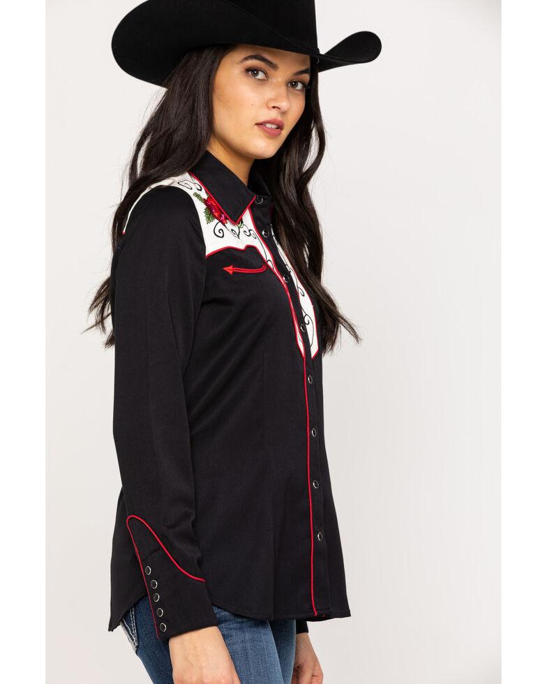 Roper Women's Black Classic Rose Long Sleeve Western Shirt, Black, hi-res