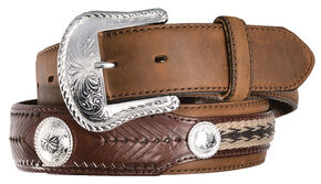 Tony Lama Duke Leather Belt, Aged Bark, hi-res