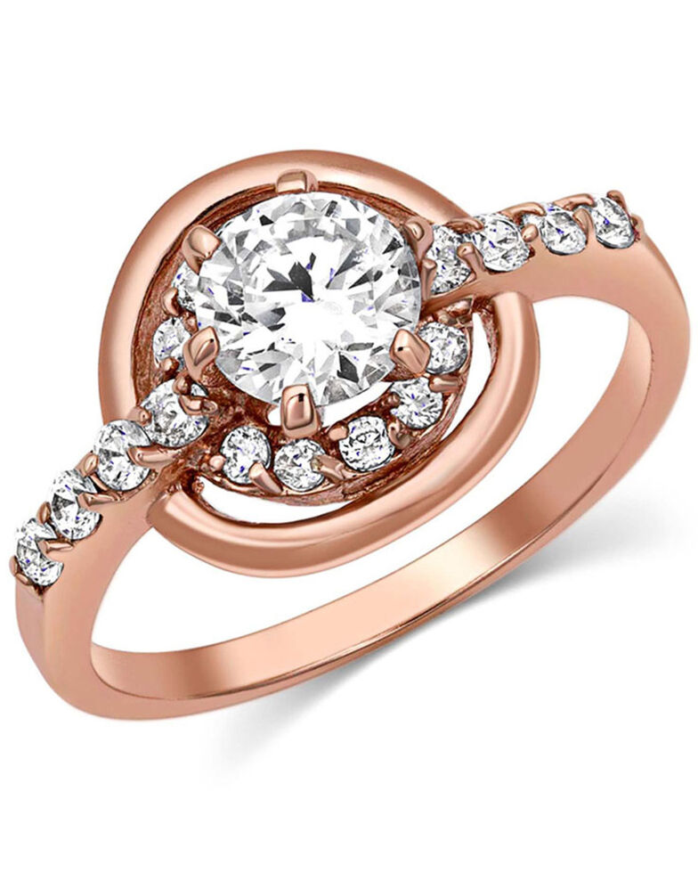 Montana Silversmiths Women's Double Halo Rose Gold Ring, Rose, hi-res