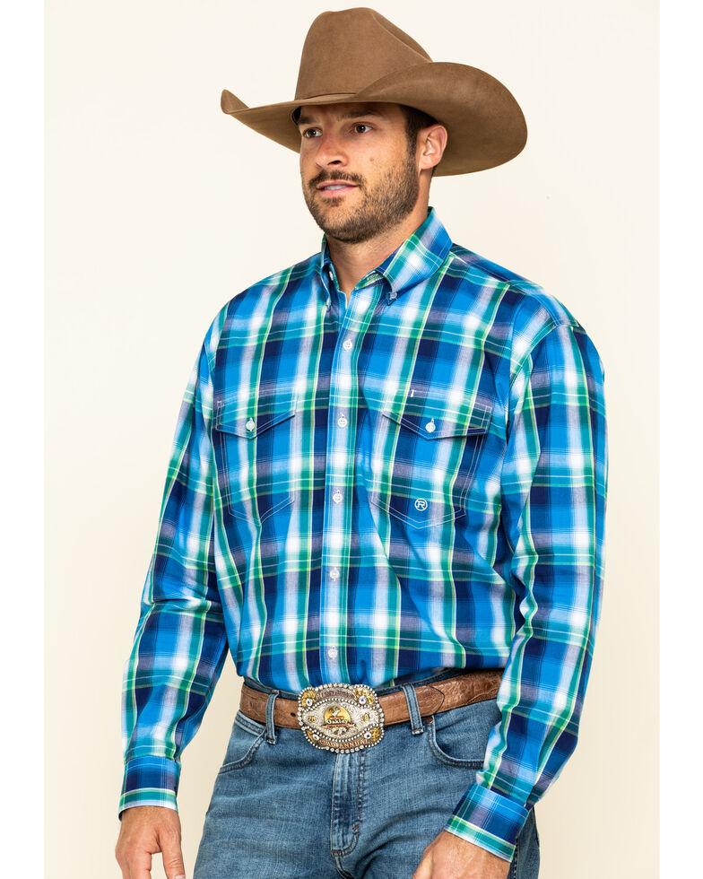 Roper Men's Amarillo Blue Ridge Large Plaid Long Sleeve Western Shirt, Blue, hi-res