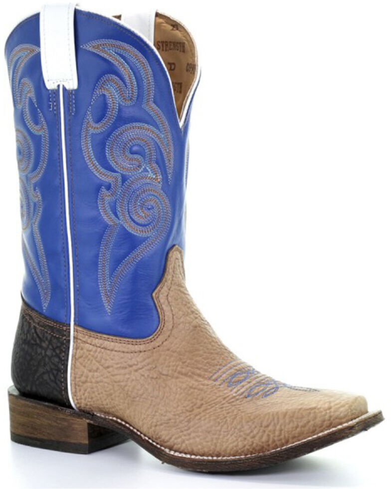 Corral Men's Tyson Tan & Blue Freedom Western Boots - Square Toe, Tan, hi-res