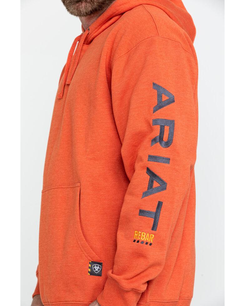 Ariat Men's Volcanic Heather Rebar Graphic Hooded Work Sweatshirt , Heather Orange, hi-res