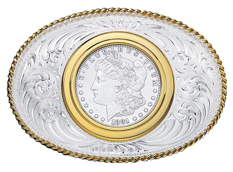 Montana Silversmiths Coin Holder Silver Dollar Western Belt Buckle, Multi, hi-res