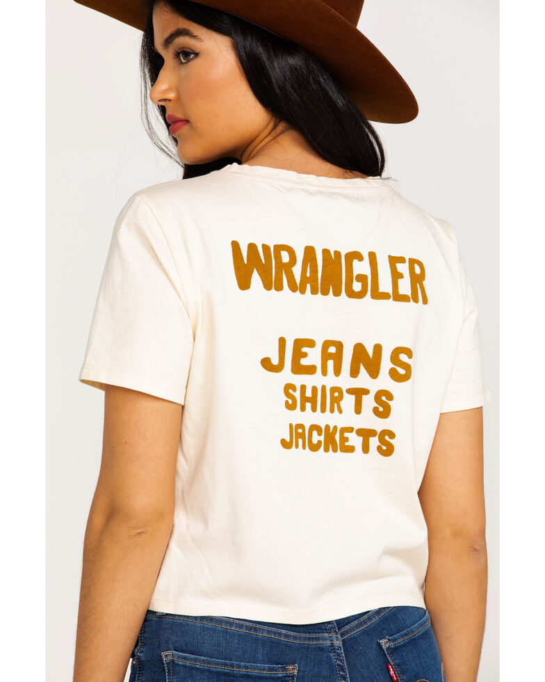 Wrangler Women's Modern Cropped Back Logo Tee , Ivory, hi-res
