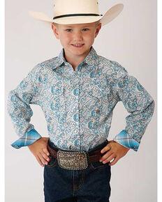 Amarillo Boys' Desert Sky Paisley Print Long Sleeve Western Shirt , Blue, hi-res