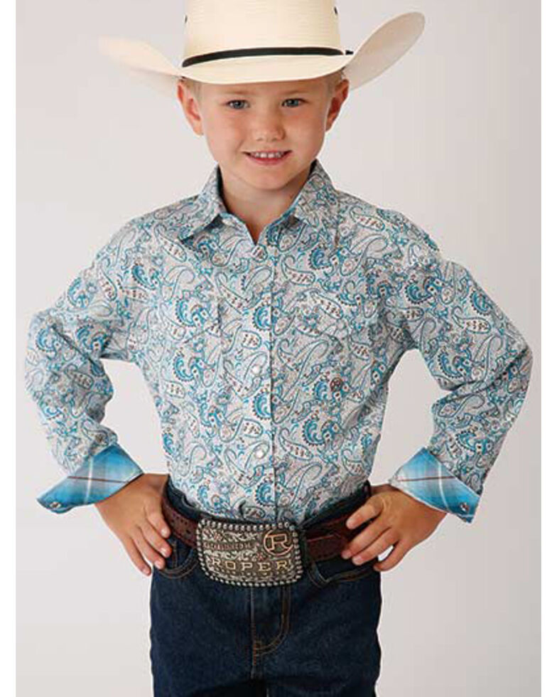 Amarillo Boys' Desert Sky Paisley Print Long Sleeve Western Shirt , Blue, hi-res