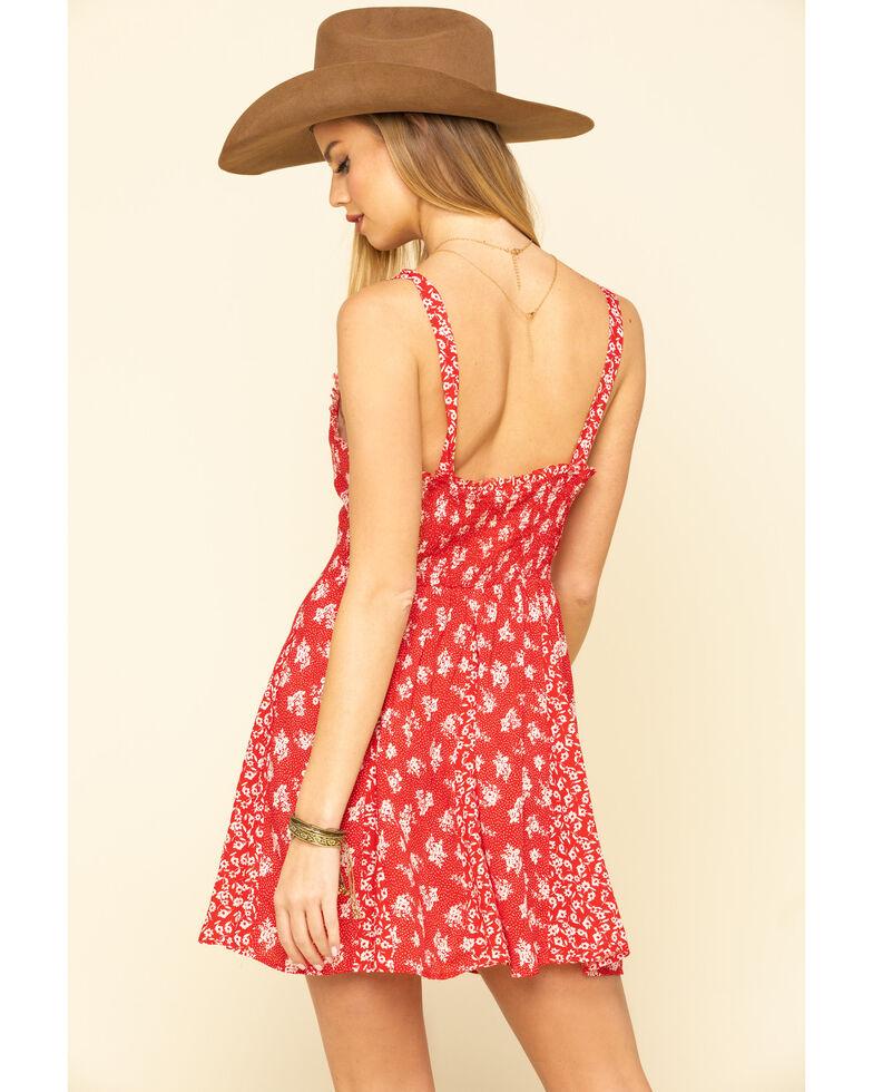 Free People Women's Don't Dare Mixed Print Mini Dress, Red, hi-res
