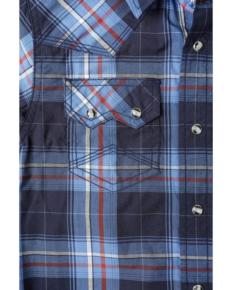Cody James Boys' Campus Plaid Woven Long Sleeve Western Shirt , Navy, hi-res