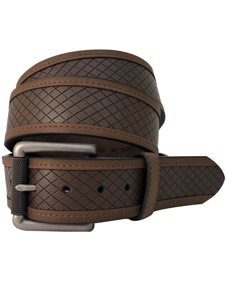 G-Bar-D Men's Brown Diamond Embossed Leather Belt , Brown, hi-res