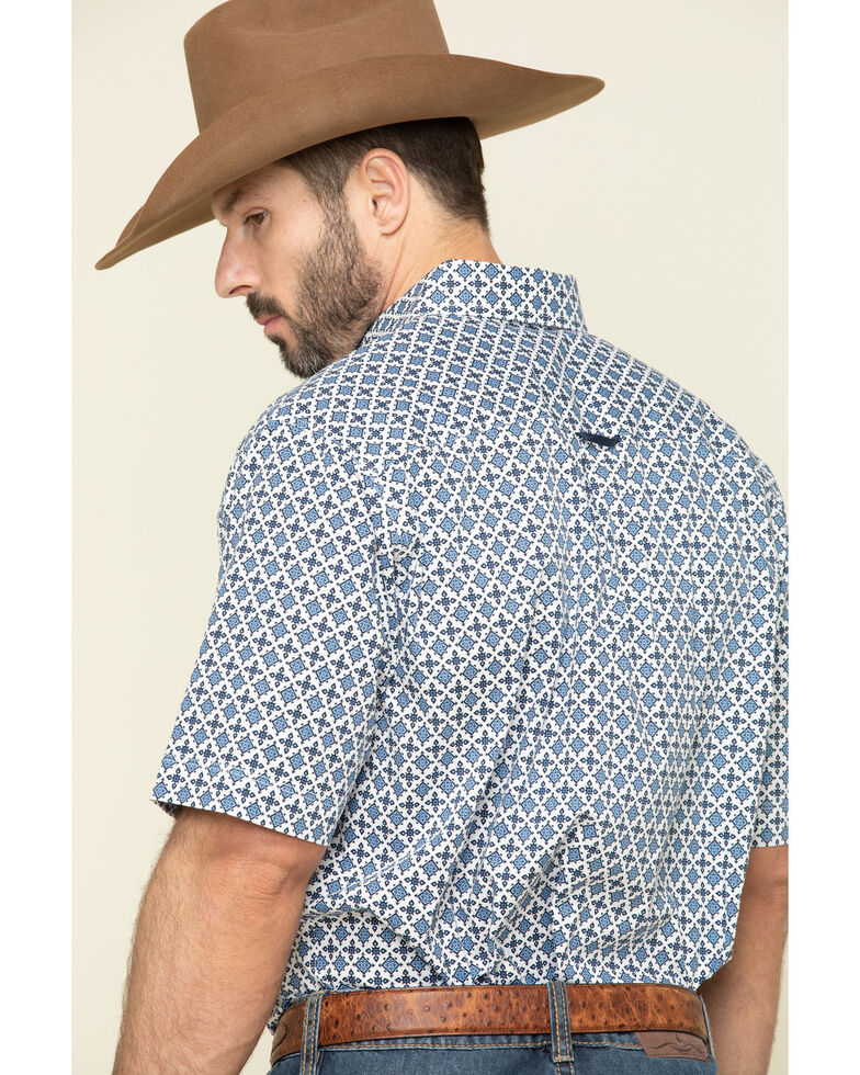 Tuf Cooper Men's Competition White Stretch Geo Print Short Sleeve Western Shirt  , Blue, hi-res