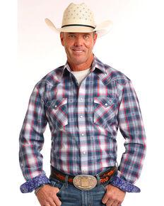 Rough Stock by Panhandle Men's Navy Dobby Plaid Shirt , Navy, hi-res