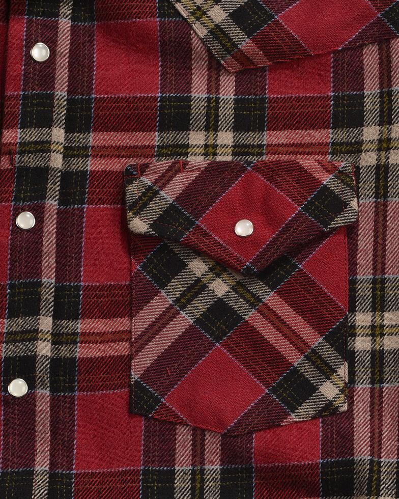 Ely Cattleman Men's Red Brawny Flannel Long Sleeve Snap Shirt, Black, hi-res