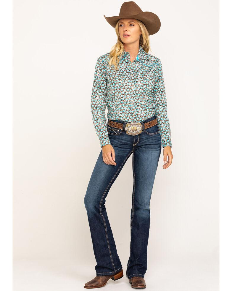 Rough Stock by Panhandle Women's Bern Antique Print Long Sleeve Western Shirt , Multi, hi-res