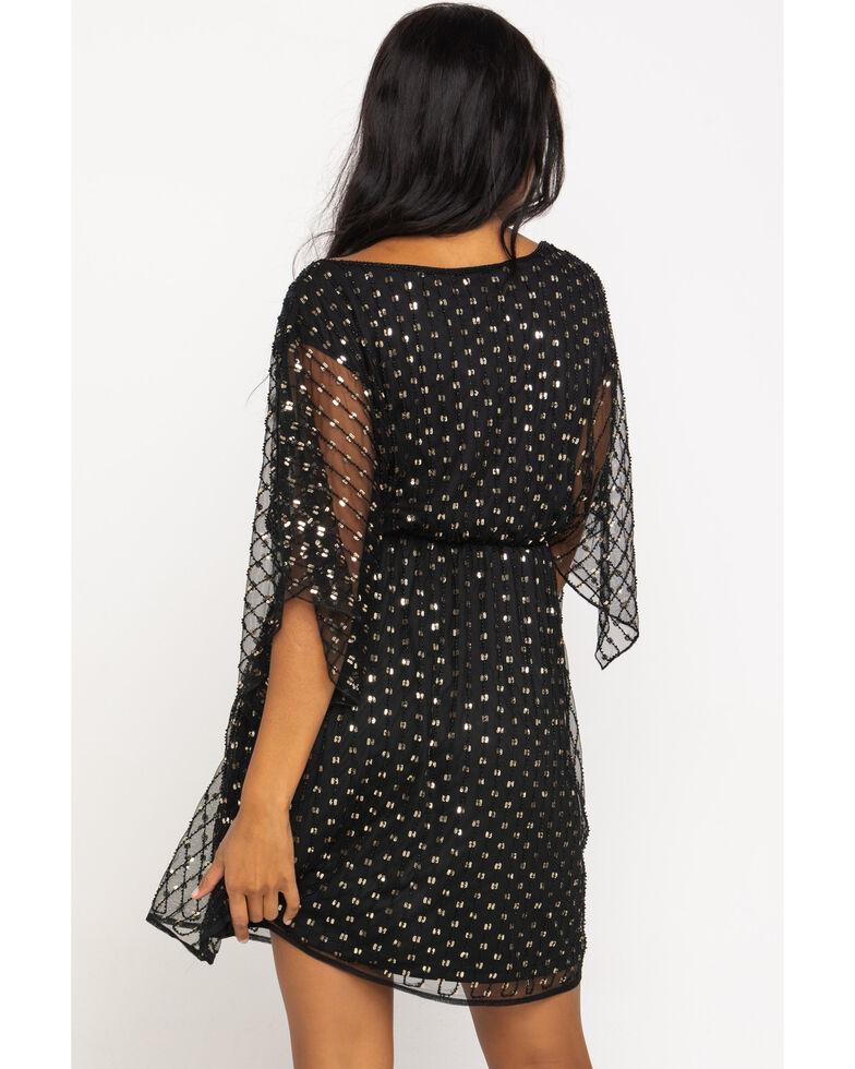 Molly Bracken Women's Black & Gold Dot Chiffon Dress, Black, hi-res