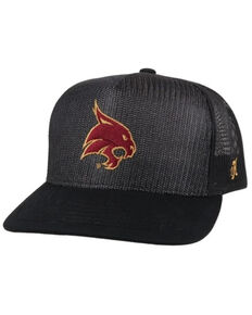 HOOey Men's Black & Maroon Texas State Bobcats Mesh Trucker Cap , Black, hi-res